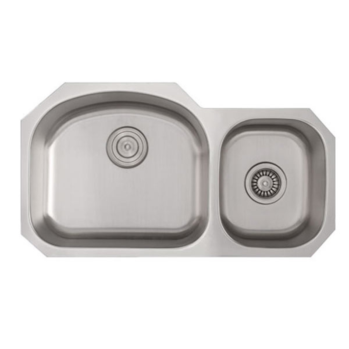 32 Inch Stainless Steel Undermount 60/40 Double D Bowl Offset Kitchen Sink    16 Gauge