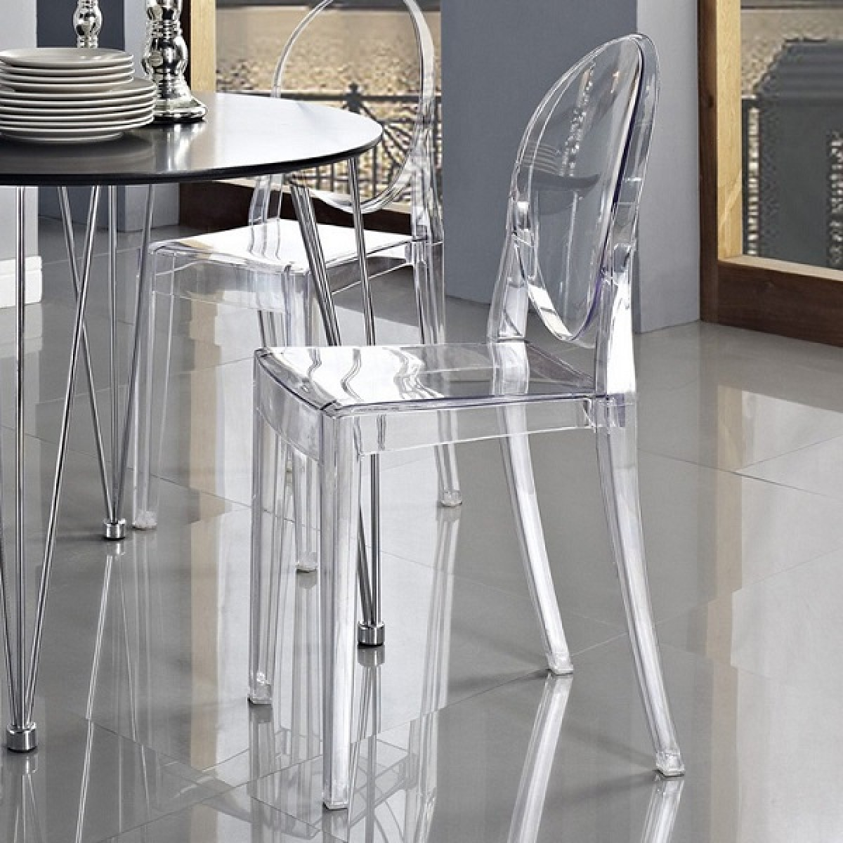 & Set of 4 Victoria Style Ghost Dining Chair Clear Color islam-shia.org