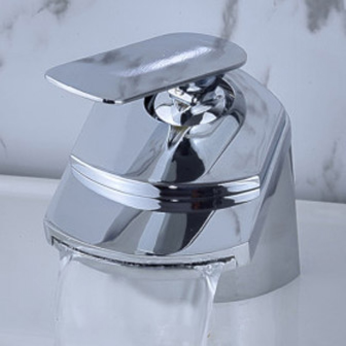 Chrome Contemporary Waterfall Flat Spout Single Hole