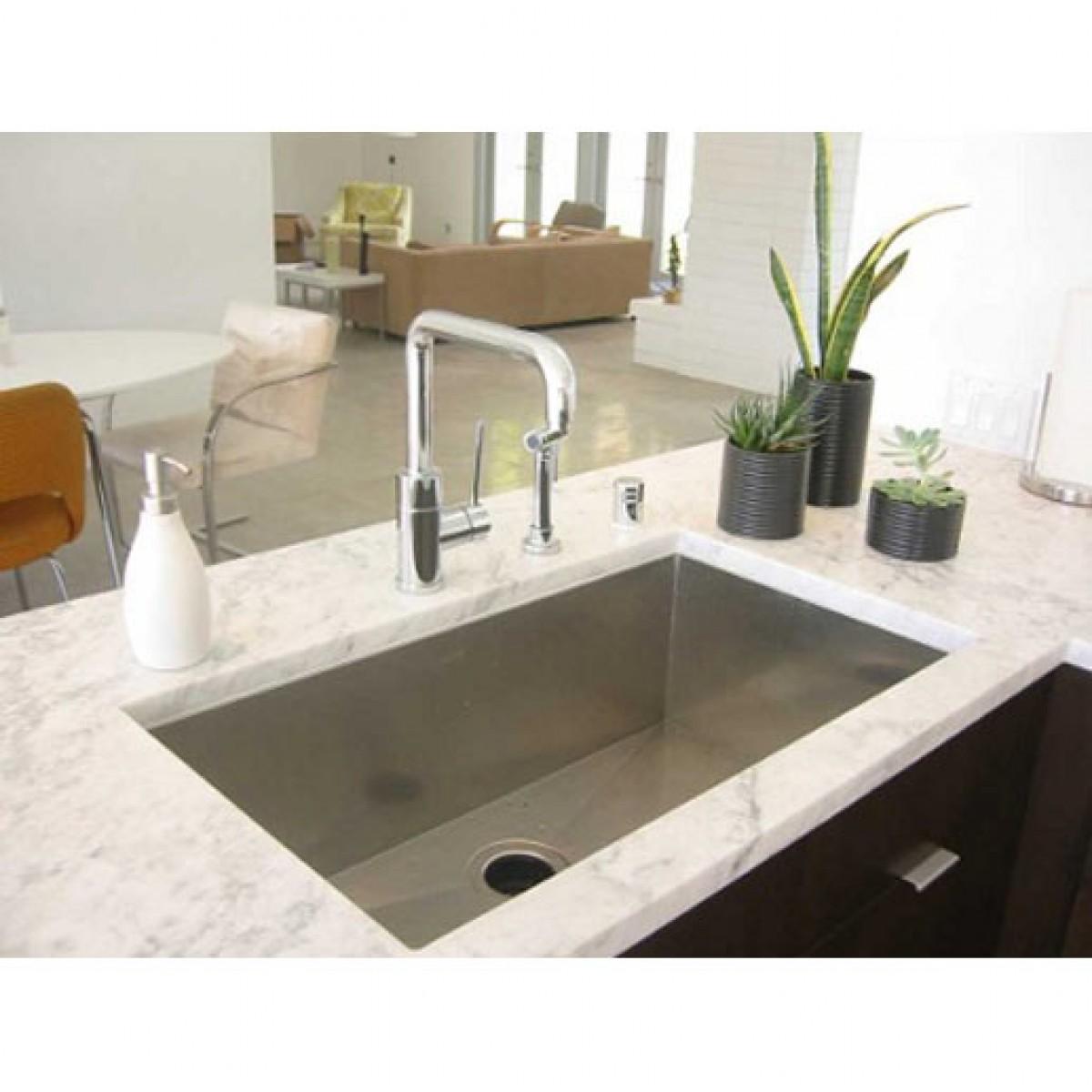 Kitchen Island With Sink Dimensions: 30 Inch Stainless Steel Undermount Single Bowl Kitchen Sink Zero Radius Design