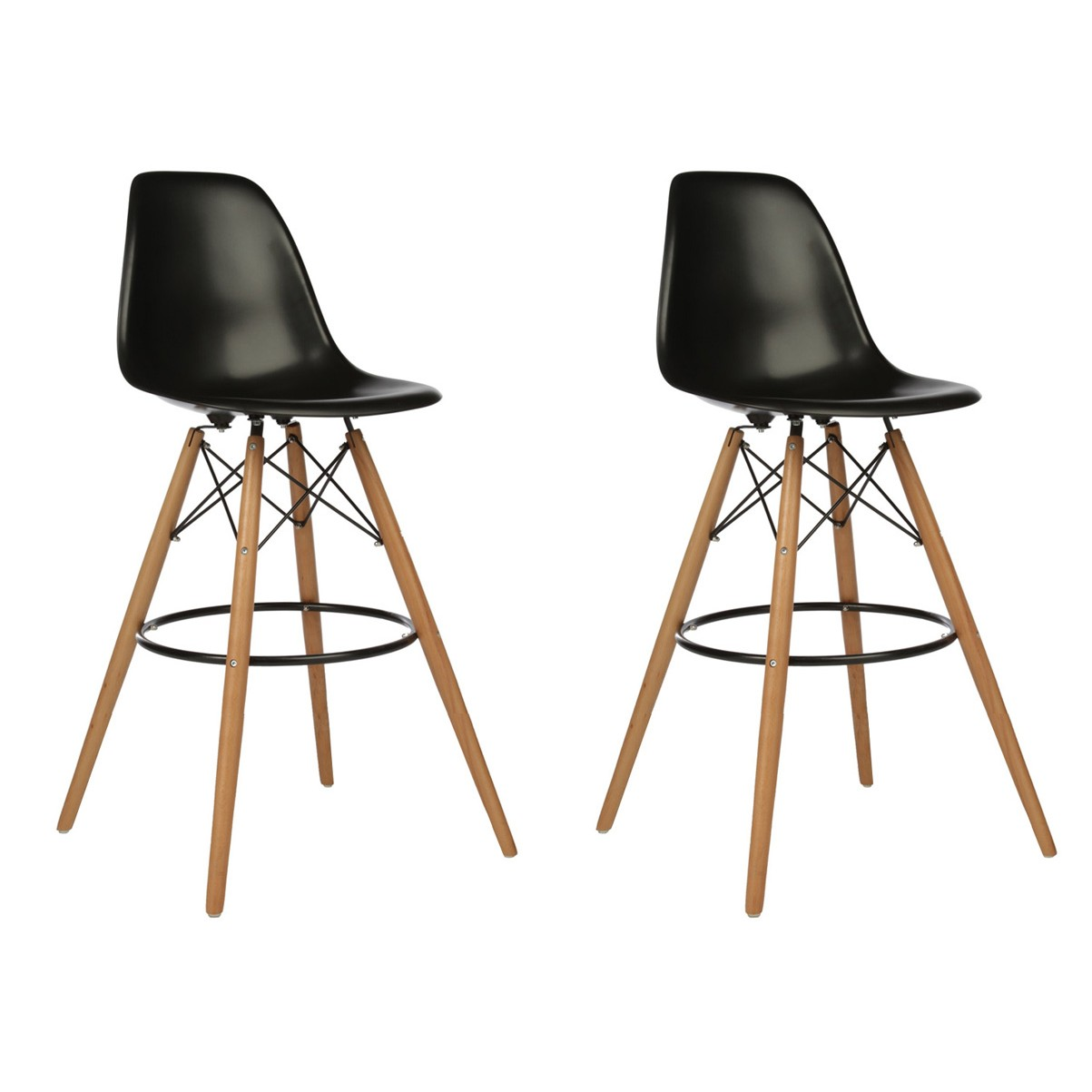 Display Gallery Item 1 ...  sc 1 st  eModernDecor & Set of 2 Eames Style DSW Black Plastic 30 Inch Bar Stool with Wood ... islam-shia.org