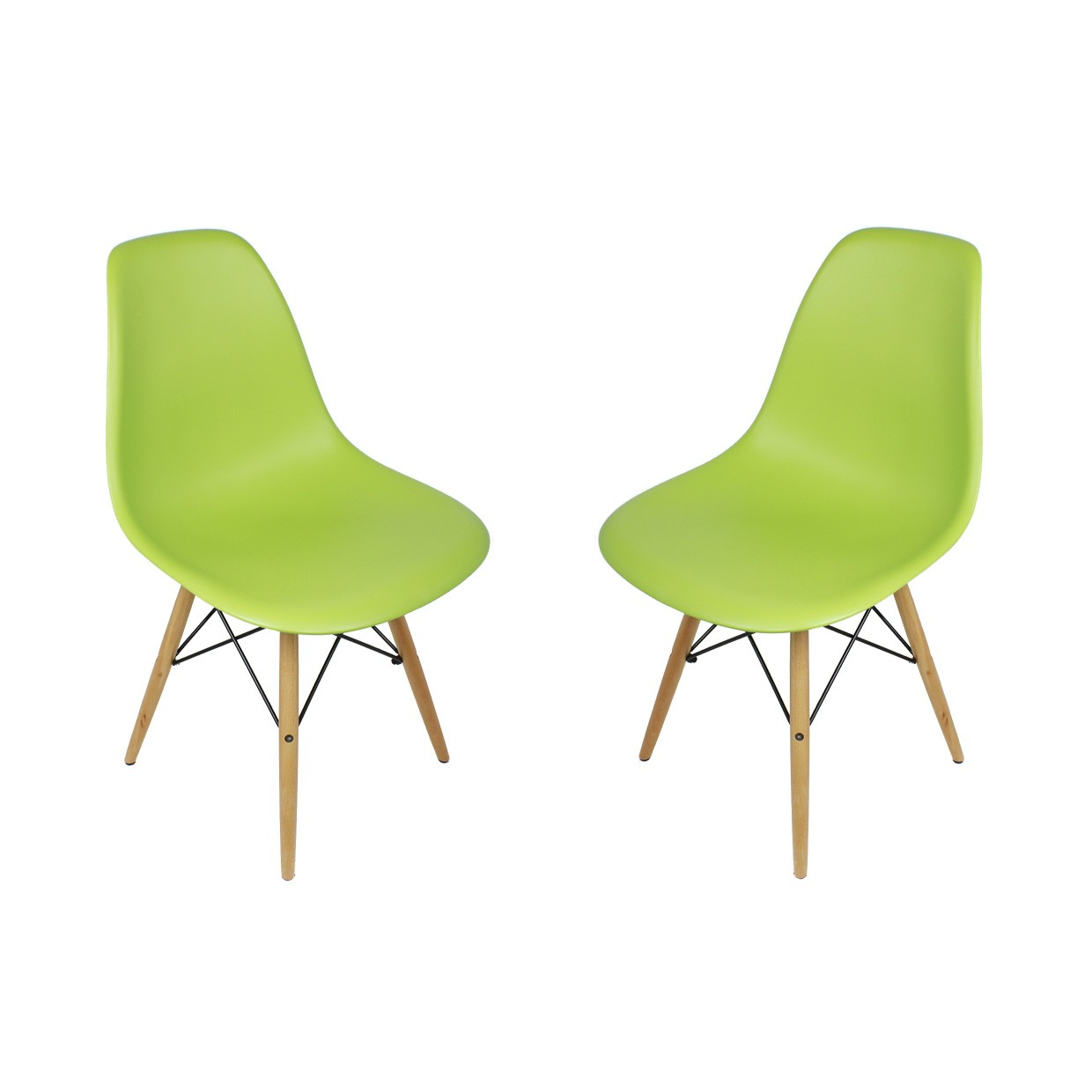 Display Gallery Item 1  Set of 2 Eames Style DSW Molded Lime Green Plastic Dining Shell  . Eames Dsw Chair Green. Home Design Ideas