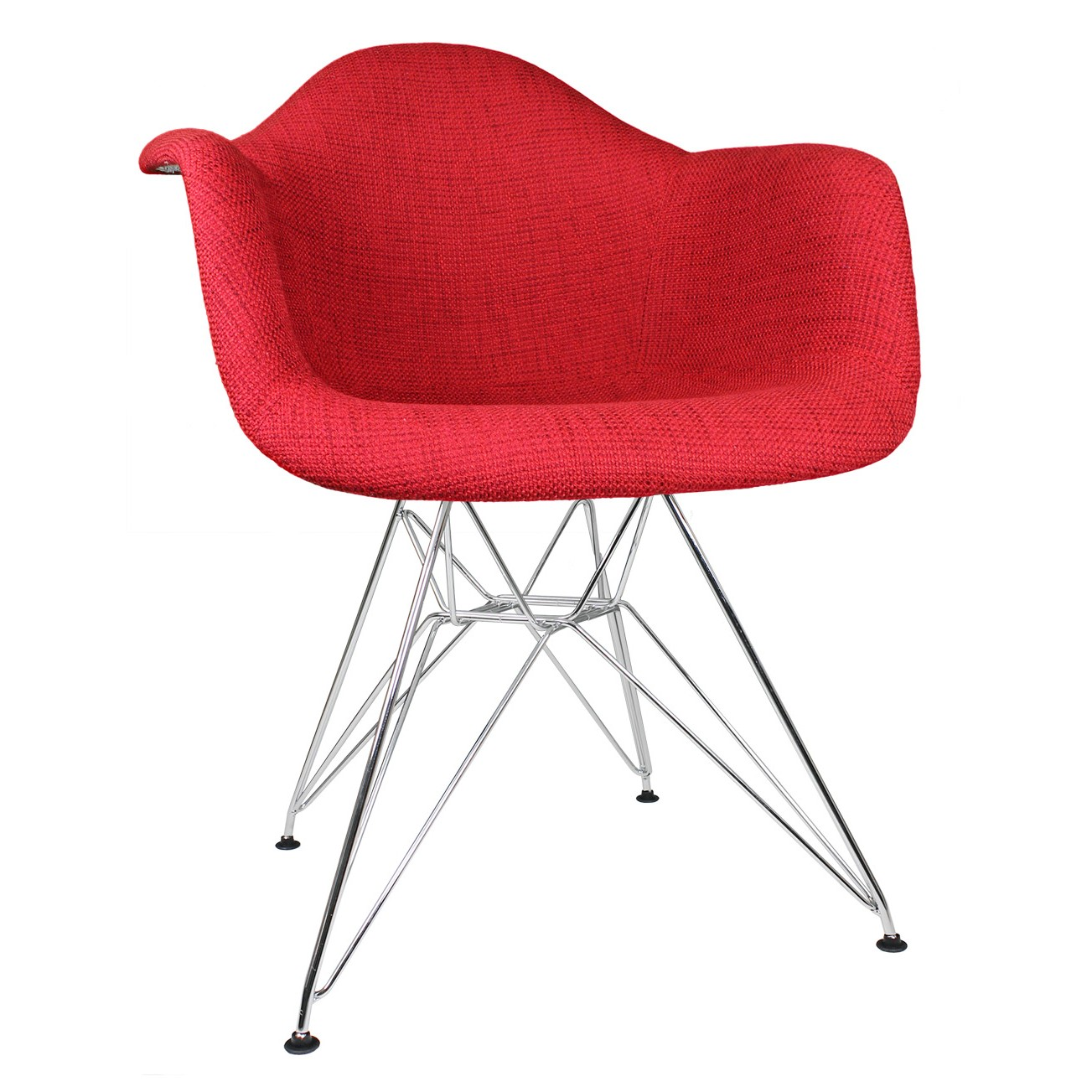 Vibrant Red Woven Fabric Upholstered Eames Style Accent