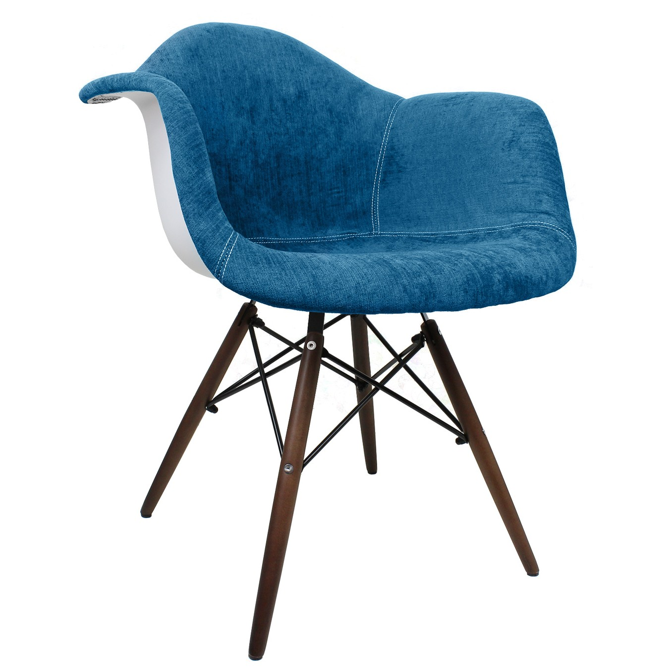 Aqua Blue Velvet Fabric Eames Style Accent Arm Chair