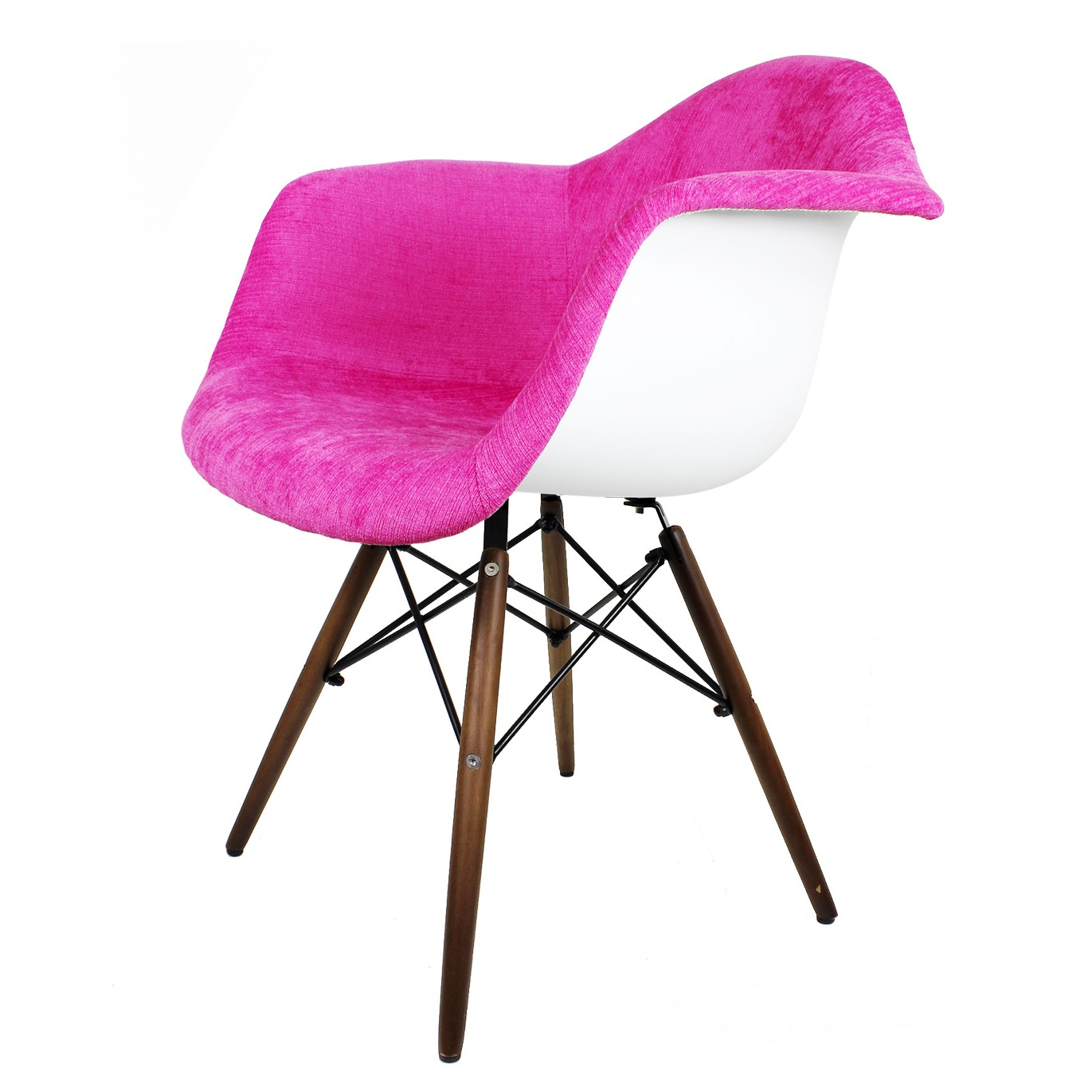Shocking Pink Velvet Fabric Eames Style Accent Arm Chair