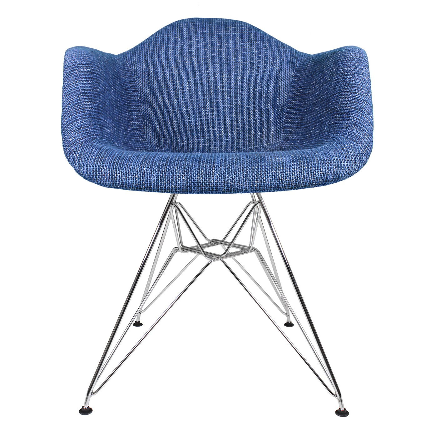 Denim Blue Woven Fabric Upholstered Eames Style Accent Arm