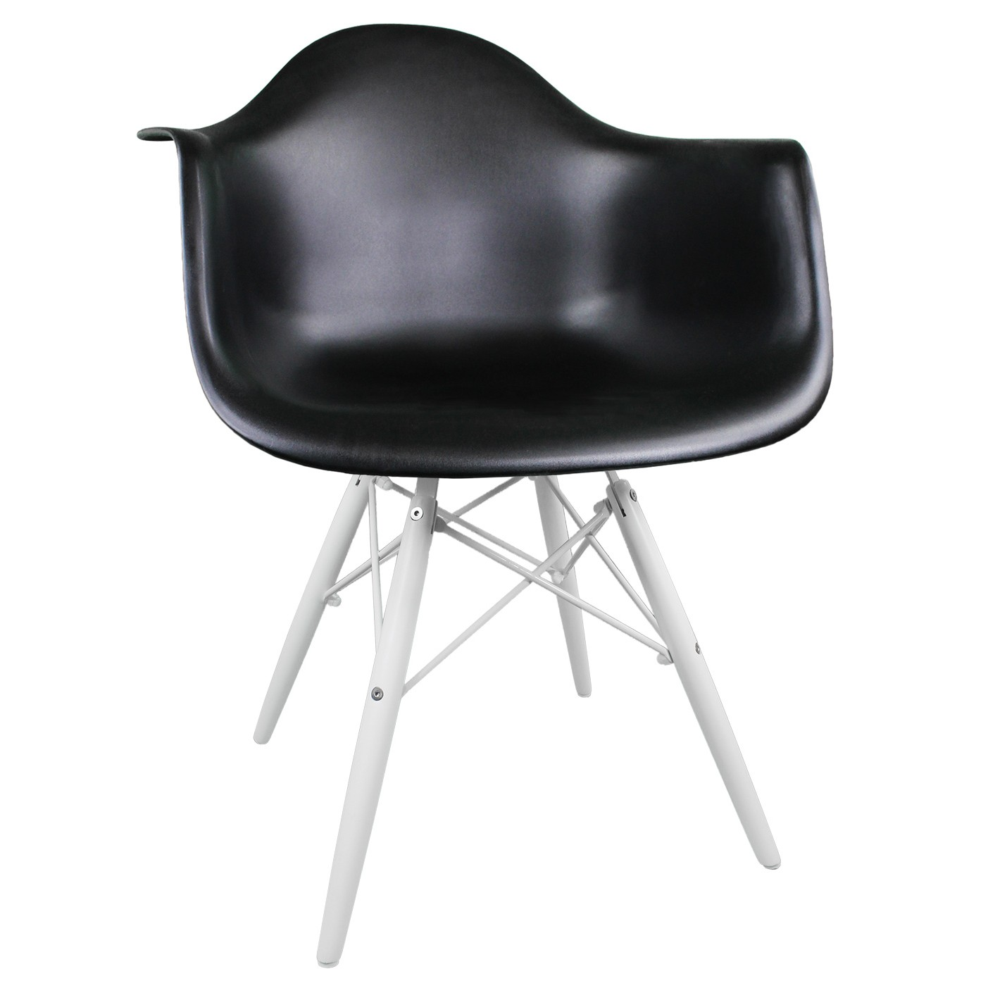 Superb img of  DAW Molded Black Plastic Accent Arm Chair with White Wood Eiffel Legs with #5D5E6E color and 1403x1403 pixels