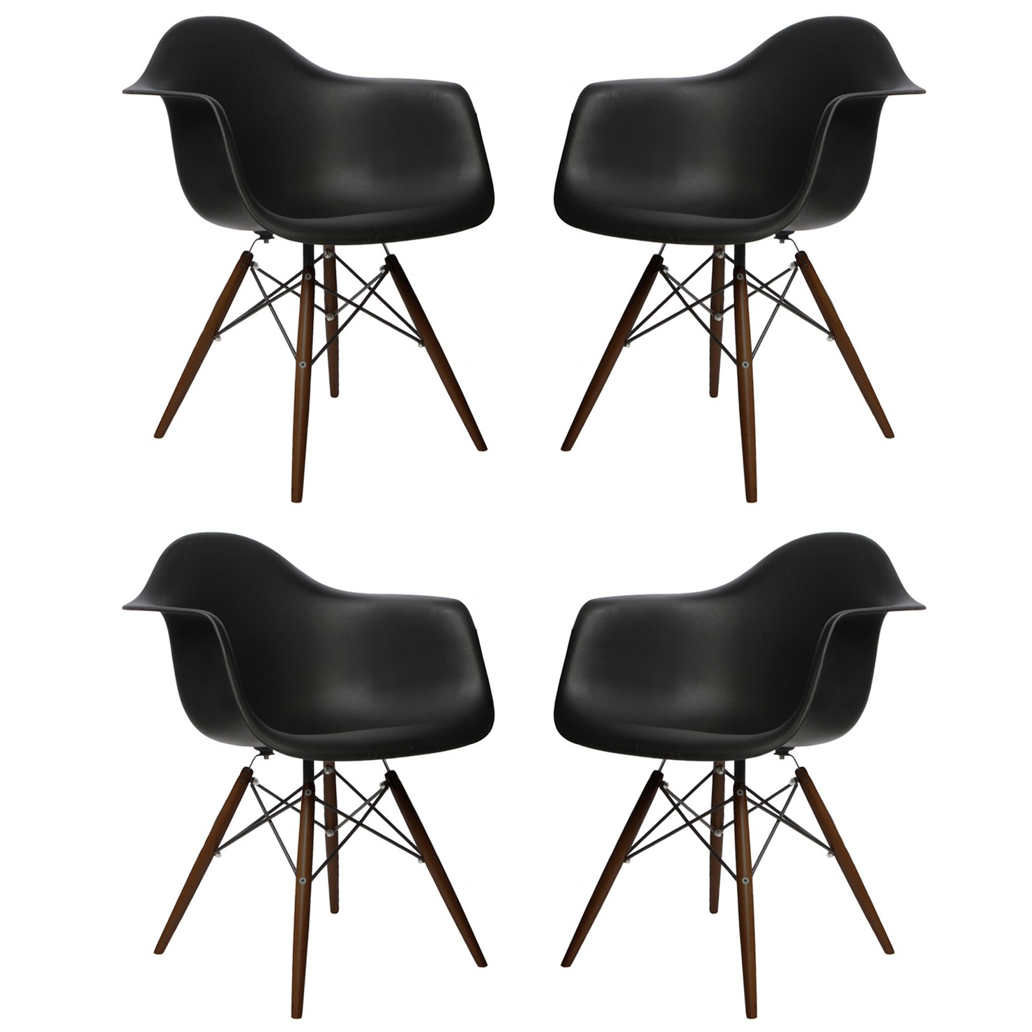 Dining Arm Chairs Black set of 4 eames style daw molded black plastic dining armchair with