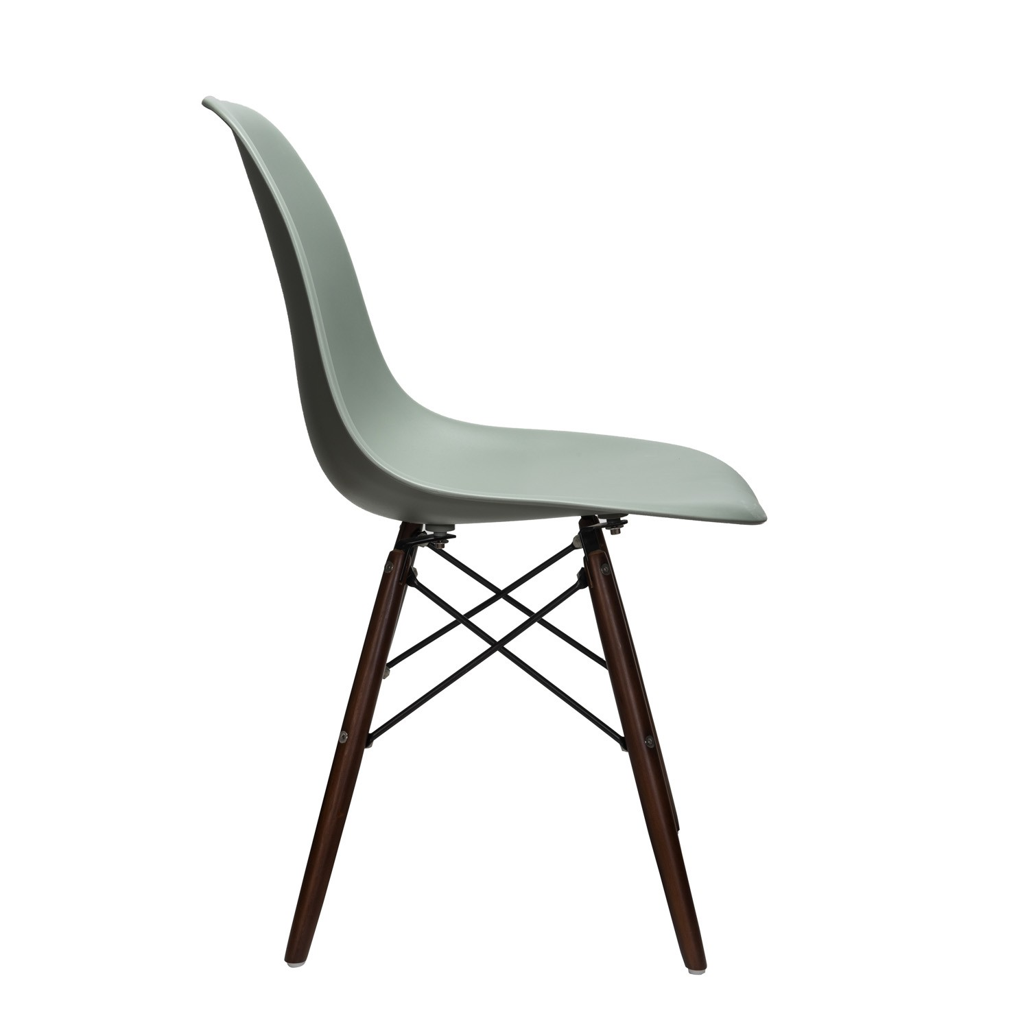 Nature series moss gray dsw molded plastic dining side for Plastic side chair replica