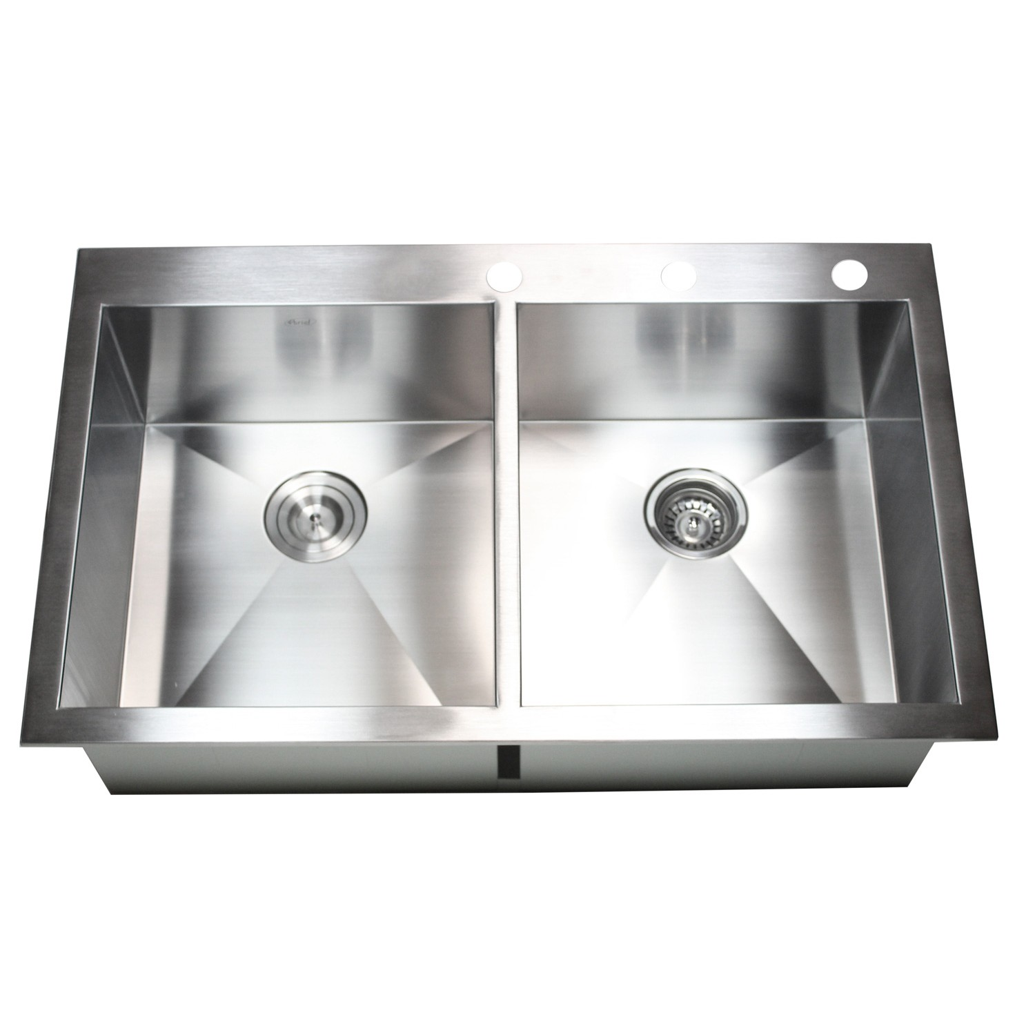 36 inch top mount drop in stainless steel double bowl for Designer stainless steel sinks