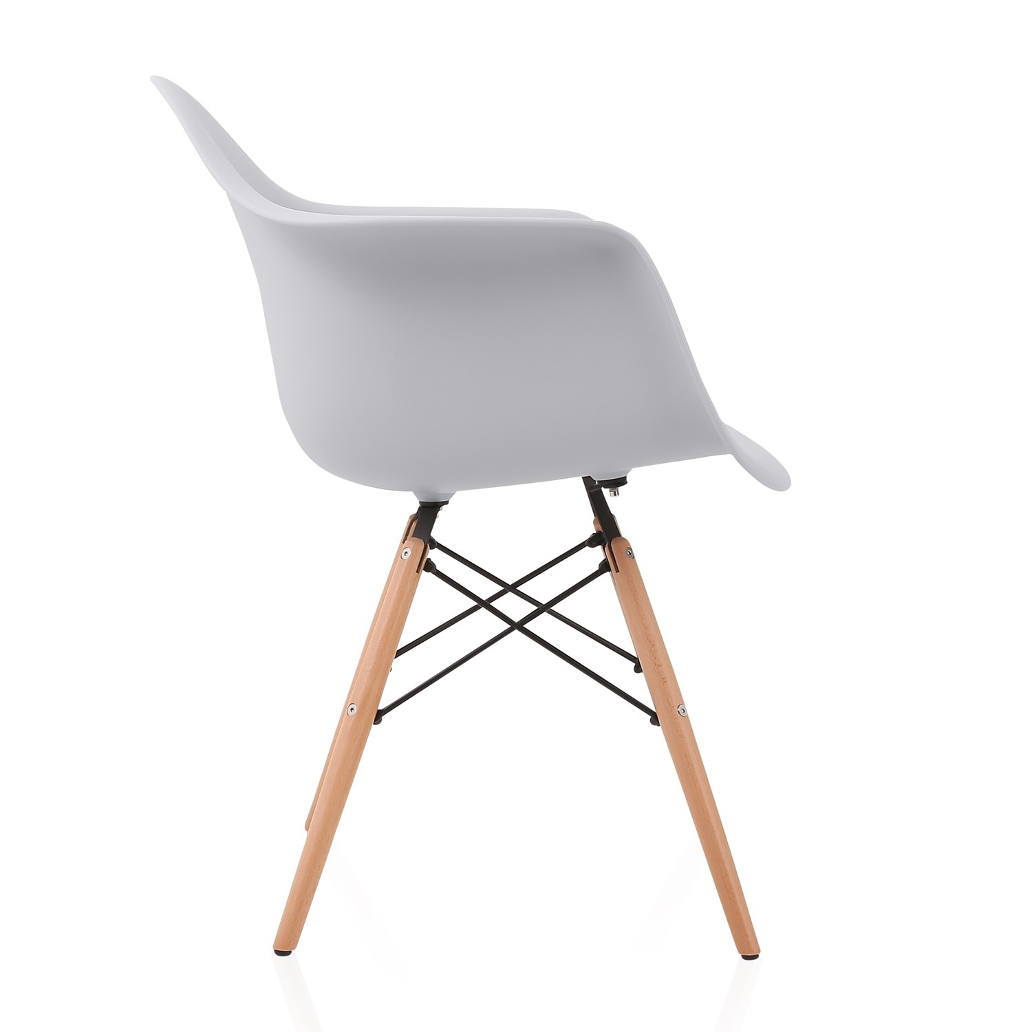 Eames Style Daw Light Gray Plastic Dining Armchair With