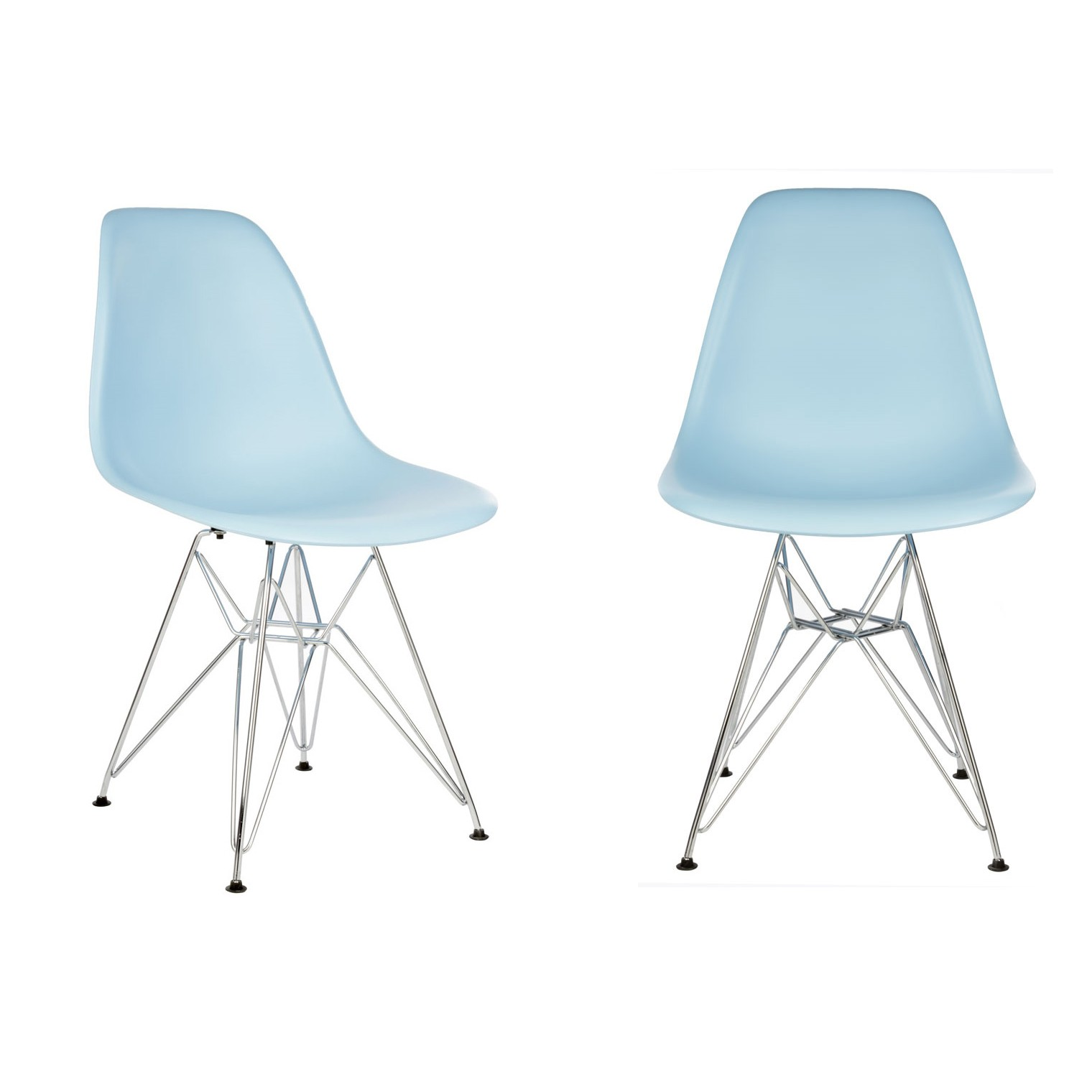 Set of 2 Eames Style DSR Molded Light Blue Plastic Dining Shell