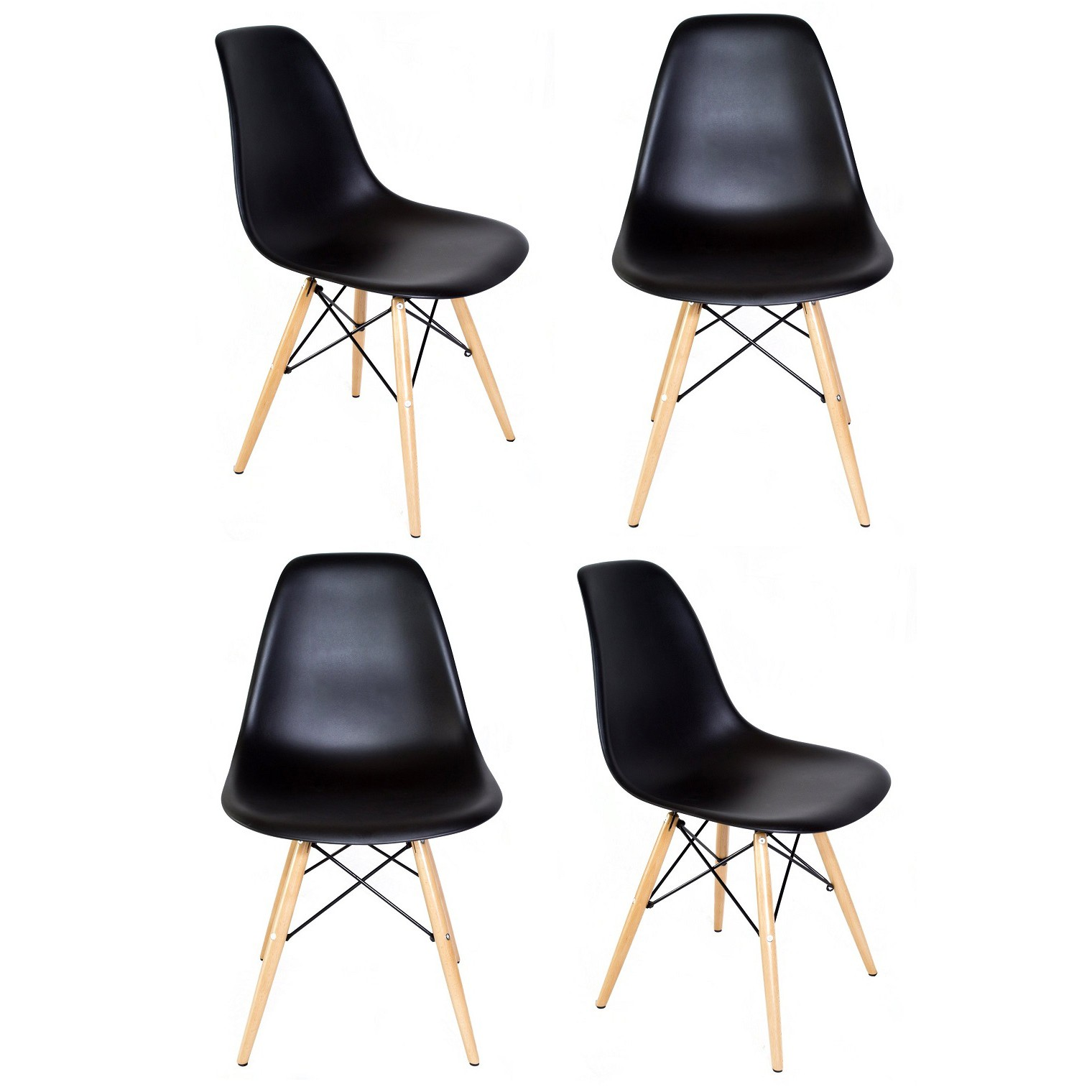 set of 4 eames style dsw molded black plastic dining shell chair with wood eiffel legs. Black Bedroom Furniture Sets. Home Design Ideas