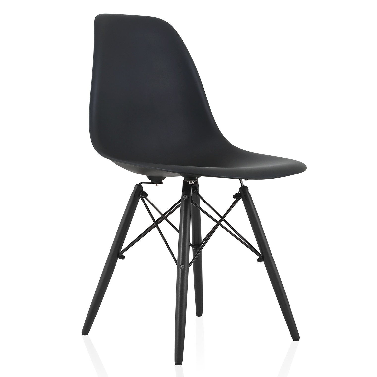 Eames style dsw molded plastic dining side chair with for Black plastic dining chairs