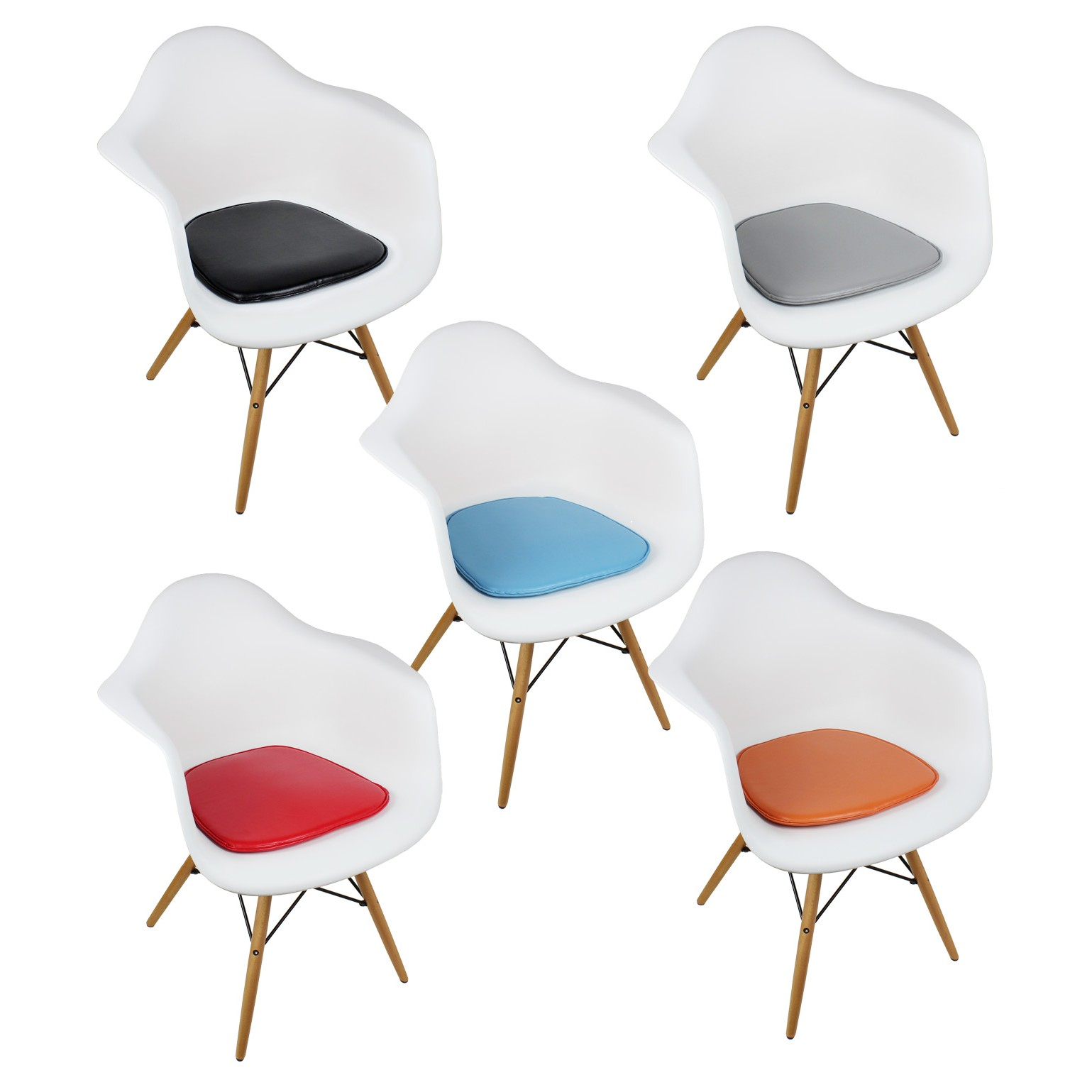 Molded Plastic Dining Chairs eames style daw molded white plastic dining armchair with cushion