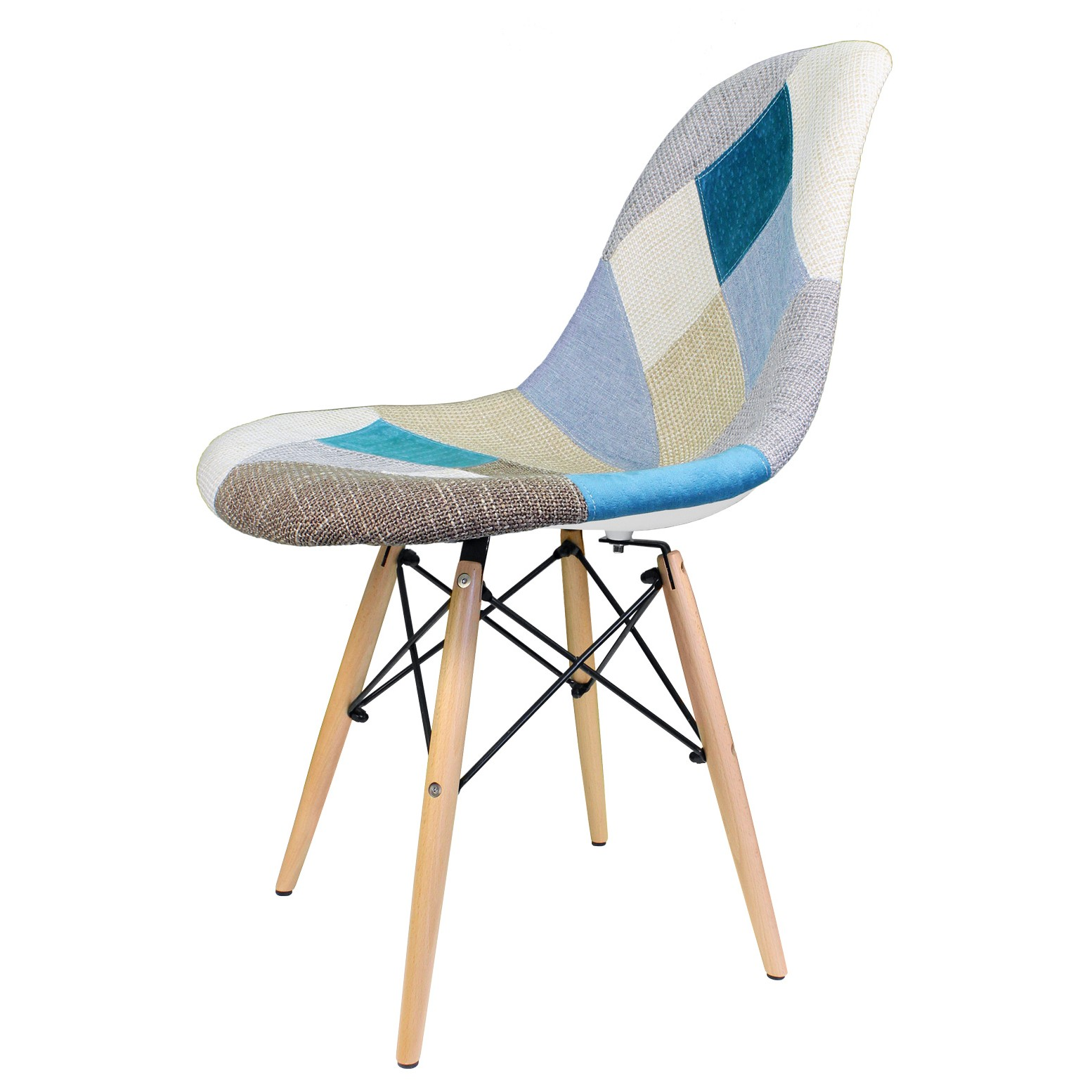 Patchwork Fabric Upholstered Mid Century Eames Style Accent Side