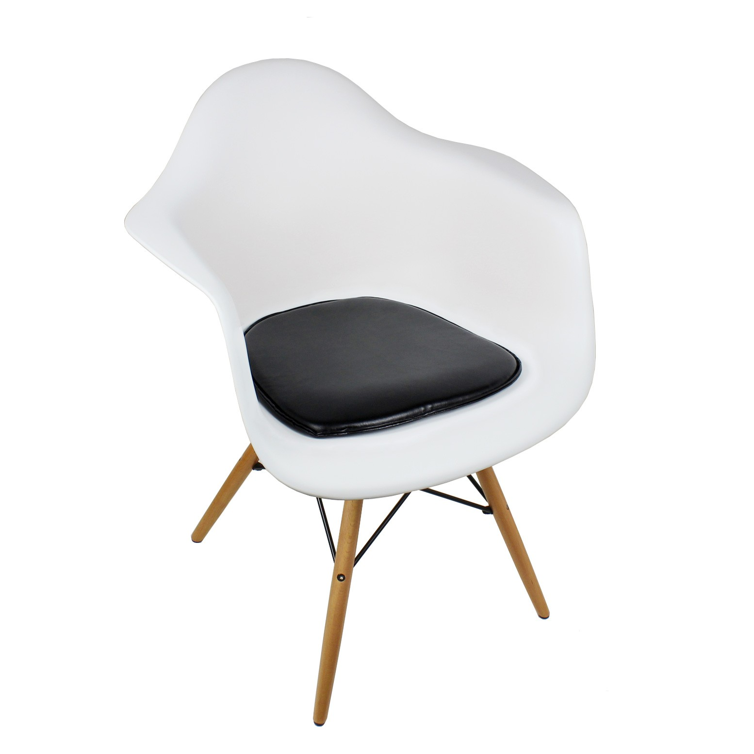 Eames Style Daw Molded White Plastic Dining Armchair With