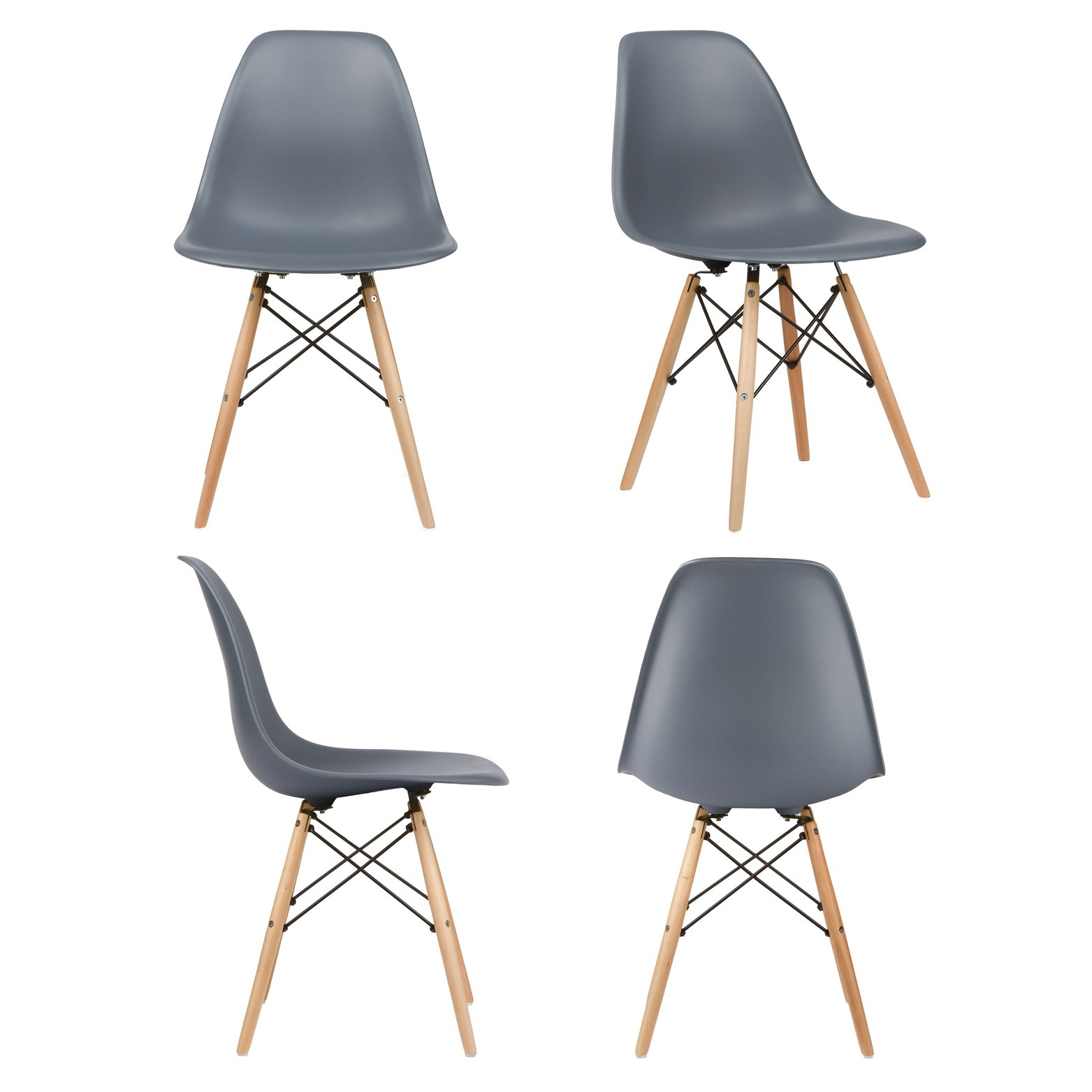 eames style dsw gray plastic dining shell chair with wood. Black Bedroom Furniture Sets. Home Design Ideas