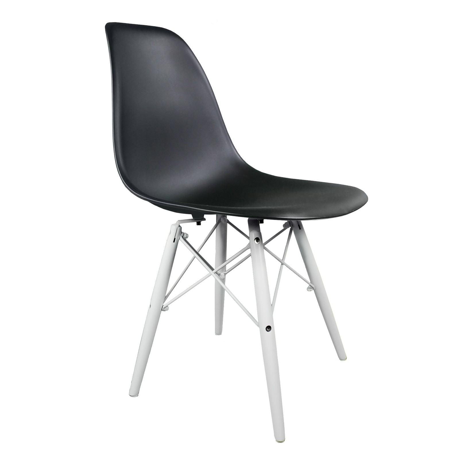 Eames chair white plastic - Black Dsw Molded Plastic Dining Shell Chair With White Wood Eiffel Legs