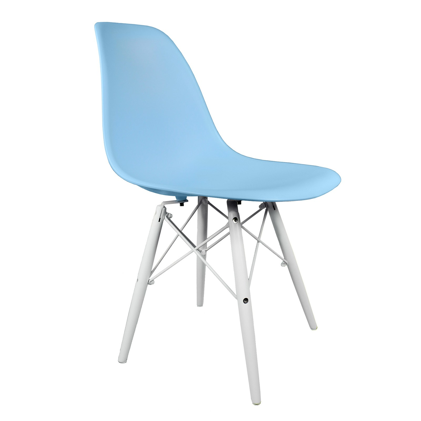 blue eames style dsw molded plastic dining shell chair with white