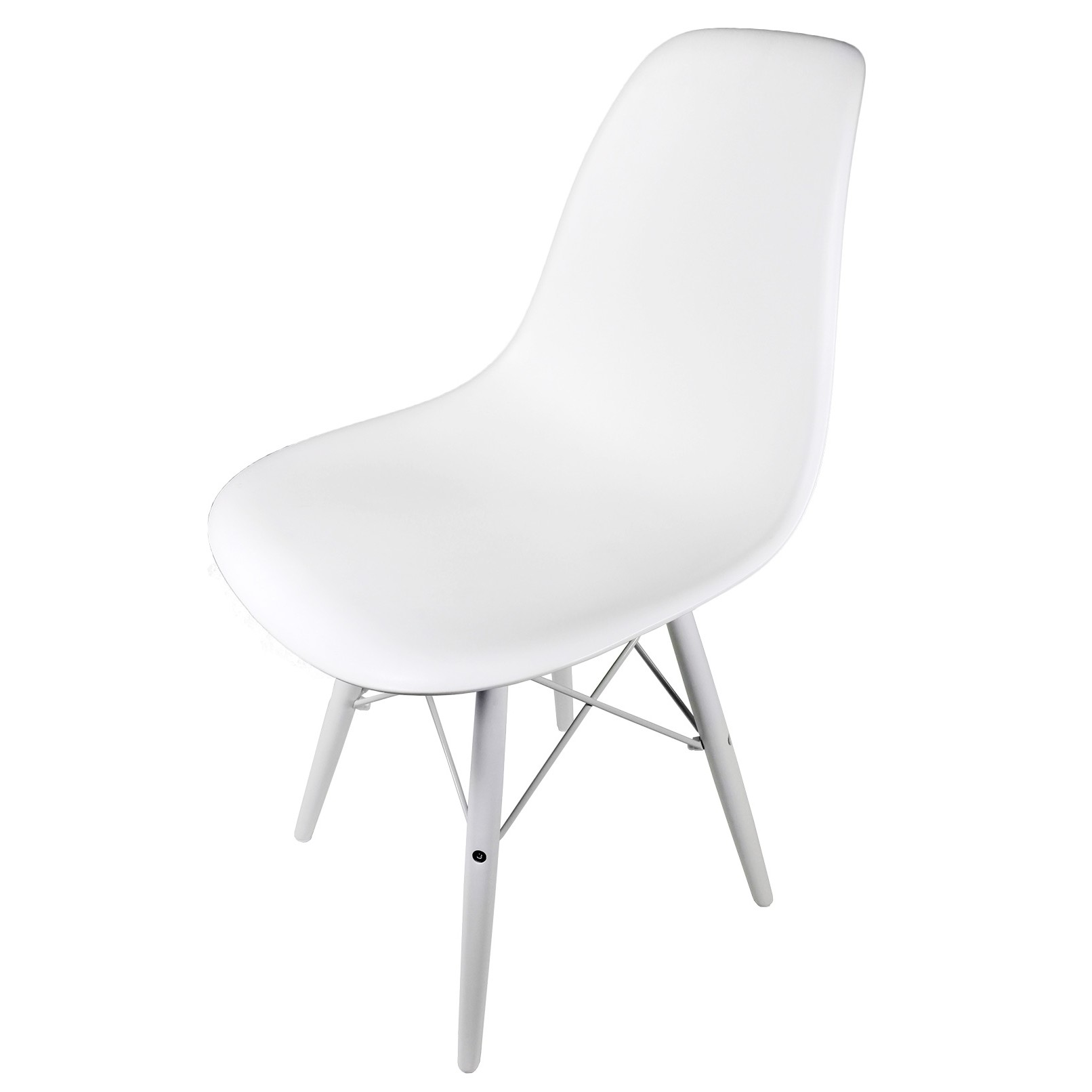 molded white plastic dining shell chair with white wood eiffel legs