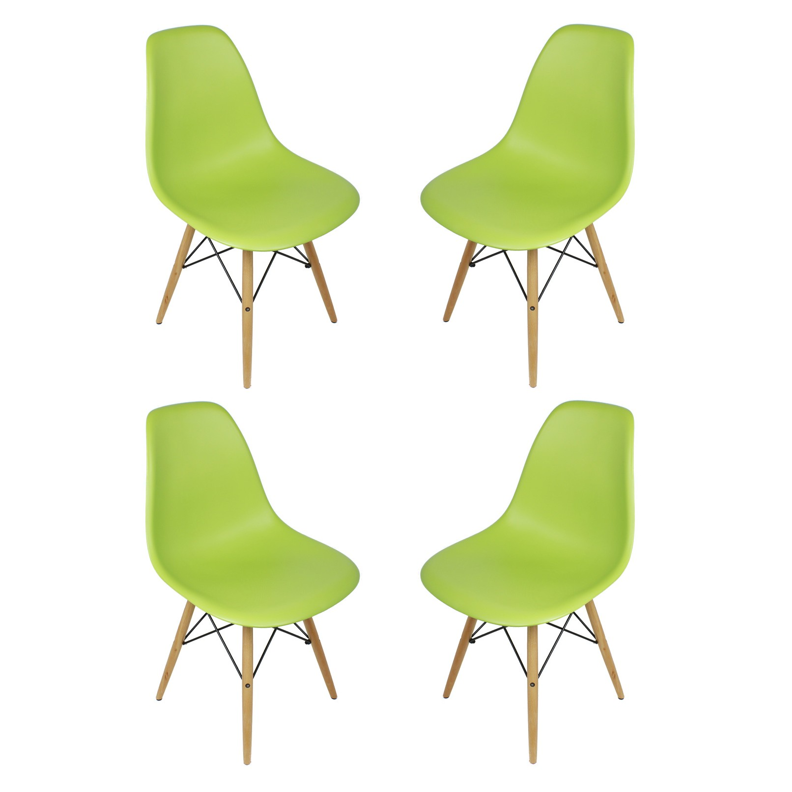 Set of 4 Eames Style DSW Molded Lime Green Plastic Dining Shell