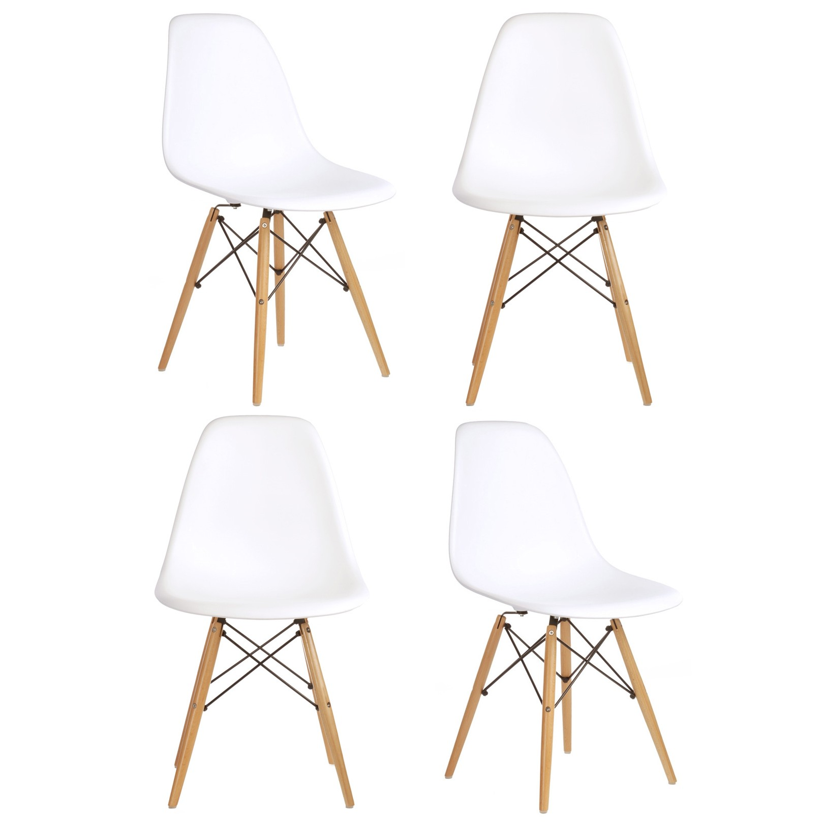 Set Of 4 Eames Style DSW Molded White Plastic Dining Shell Chair With Wood Ei