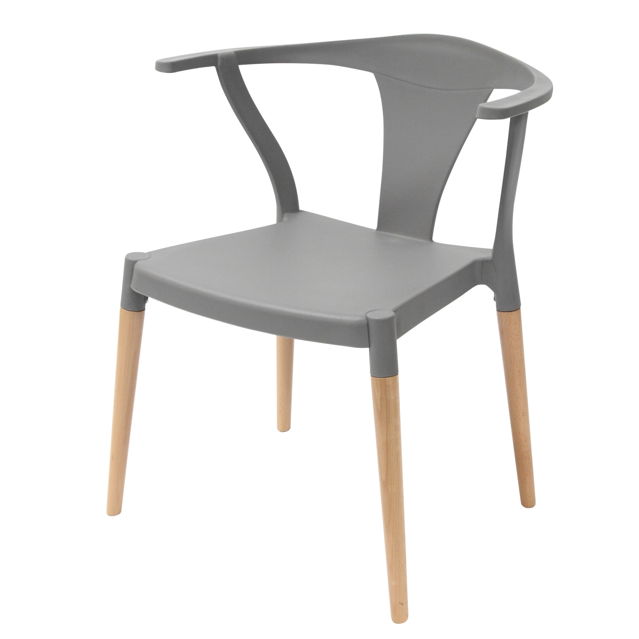 Icon Series Gray Modern Accent Dining Arm Chair Beech Wood Legs