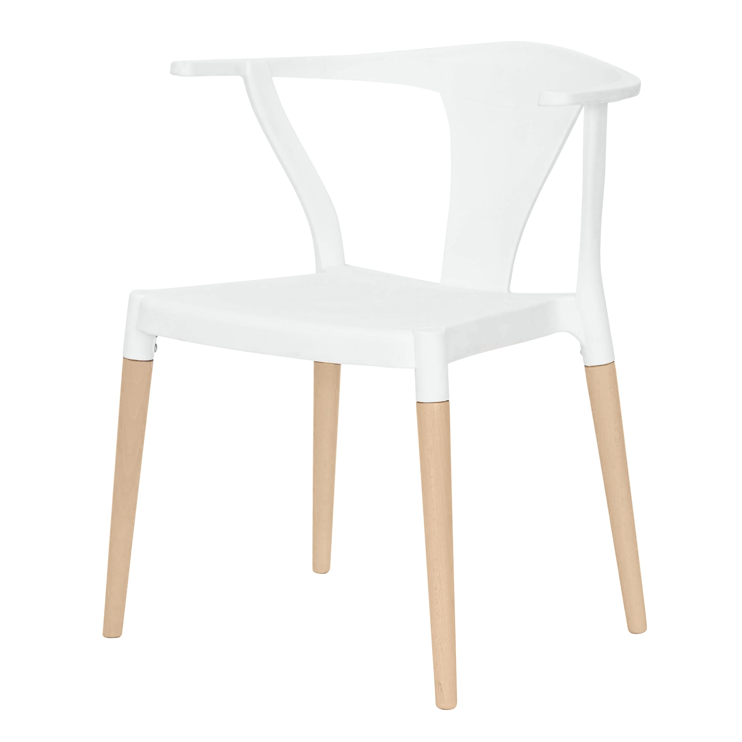 Icon series white modern accent dining arm chair beech for Wood dining arm chairs
