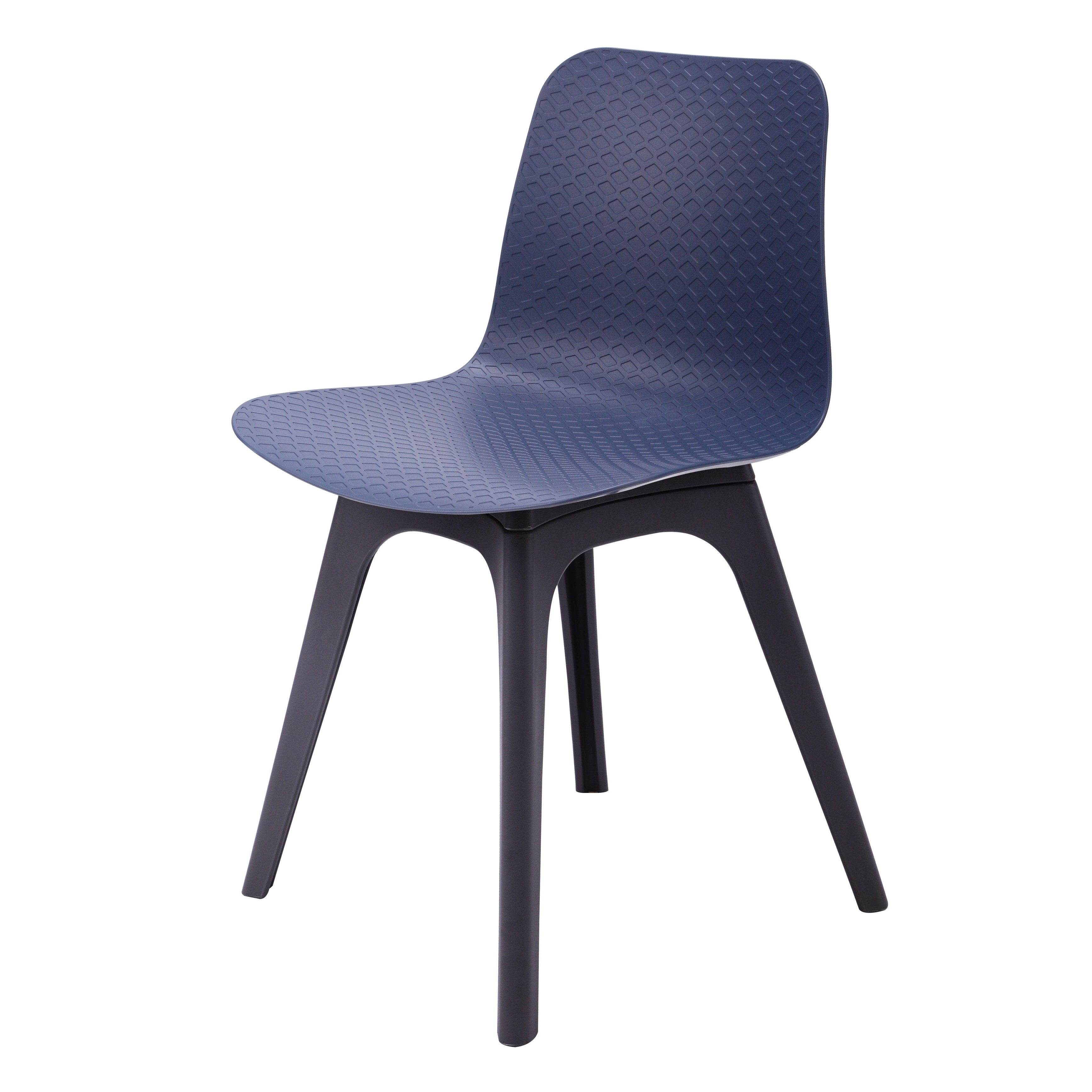 Series Navy Dining Shell Side Chair Molded Plastic Black Legs