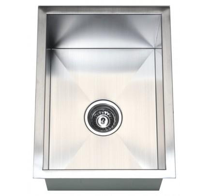 15 Inch Stainless Steel Undermount Single Bowl Kitchen / Bar / Prep Sink  Zero Radius Design