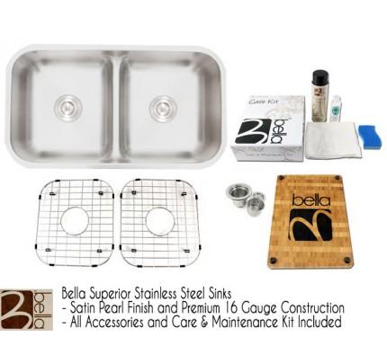 Bella 33 Inch Premium 16 Gauge Low Dam Divider 50/50 Double Bowl Kitchen  Sink