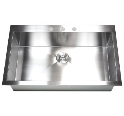 36 Inch Top Mount Drop In Stainless Steel Single Bowl Kitchen Sink Zero