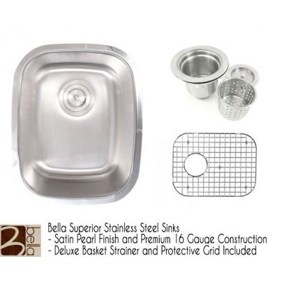 Bella 15 Inch Premium 18 Gauge Stainless Steel Undermount Single Bowl  Kitchen / Bar / Prep