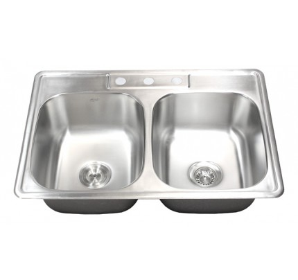33 Inch Stainless Steel Top Mount Drop In 50 50 Double Bowl Kitchen Sink