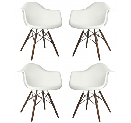 Set of 2 Eames Style DAW Molded White Plastic Dining Armchair with