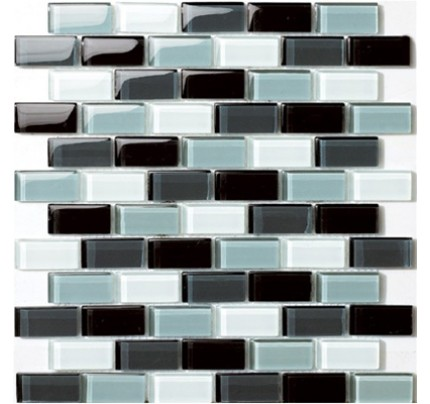 Glossy Black Blend With Grayscale Gl Brick Mosaic Tile Mesh Backed Sheet