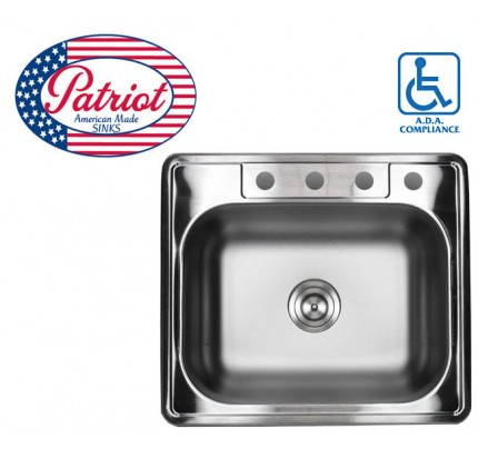 25 Inch Patriot Premium 18 Gauge Top Mount Drop In Stainless Steel Kitchen