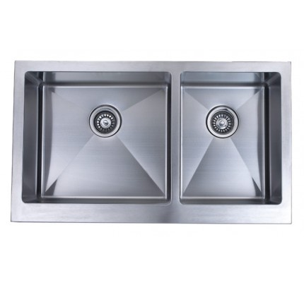 36 Inch Stainless Steel Flat Front Farm Apron 50/50 Double Bowl ...
