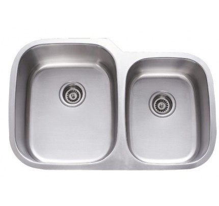 Medium image of 32 inch stainless steel undermount 60 40 double bowl kitchen sink   18 gauge