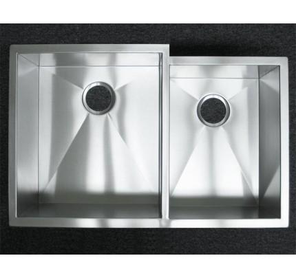 33 Inch Stainless Steel Undermount 60 40 Offset Double Bowl Kitchen Sink Zero Radius Design