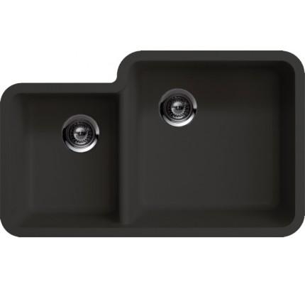 black quartz composite 4060 double bowl undermount kitchen sink 33 x 20 - Kitchen Sinks Granite Composite