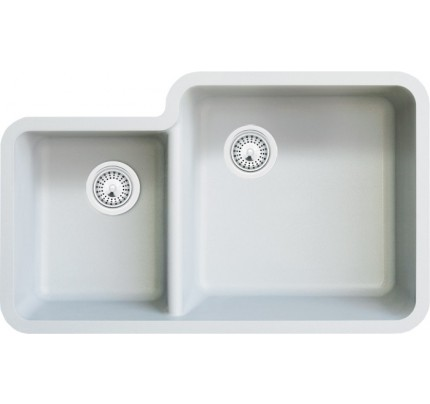 white quartz composite 50/50 double bowl undermount kitchen sink