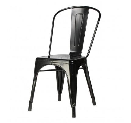 tolix style metal industrial loft designer black cafe chair