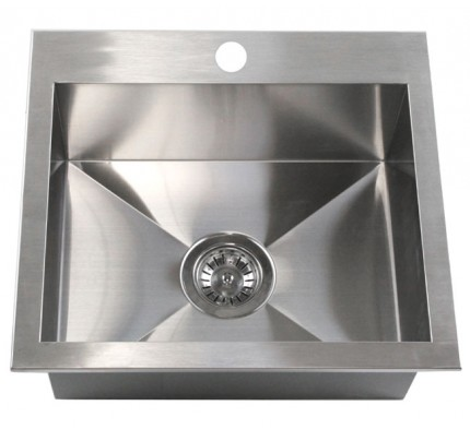 19 Inch Top Mount Drop In Stainless Steel Single Bowl Kitchen Island