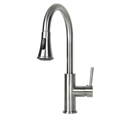 Chess Design Lead Free Brushed Nickel Kitchen Faucet With Pull Out - Single hole kitchen faucet with pull out spray