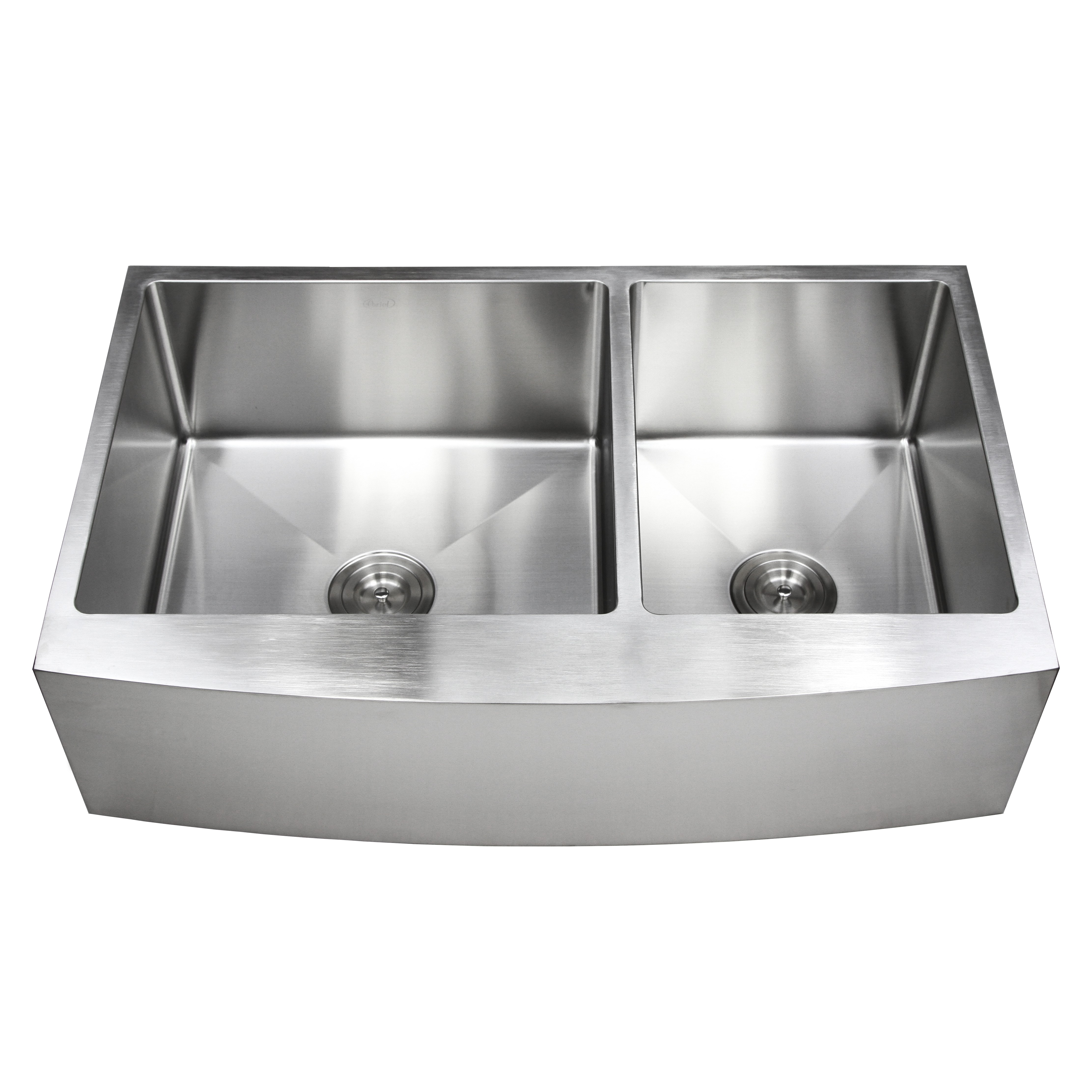 White apron kitchen - 36 Inch Stainless Steel Curved Front Farm Apron 60 40 Double Bowl Kitchen Sink 15mm Radius Design