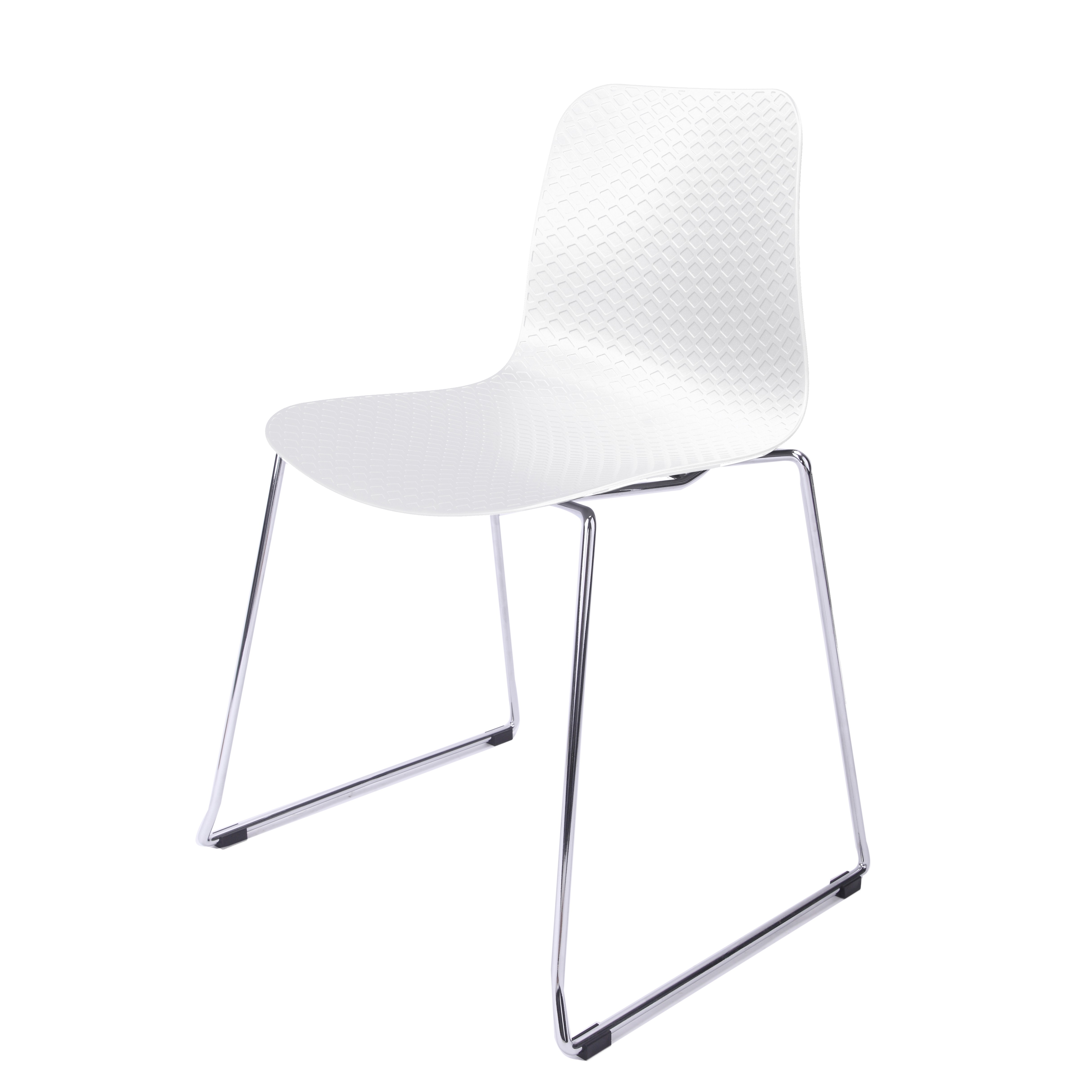 Captivating Hebe Series White Dining Shell Side Chair Molded Plastic Steel Metal Legs