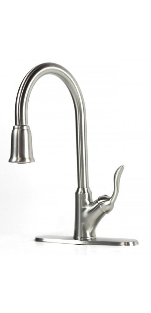 Classic Lilly Collection Lead Free Pull Out Sprayer Kitchen / Bar Faucet Brushed Nickel Finish With Free Deck Plate