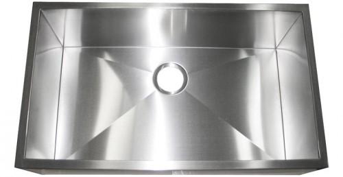 32 Inch Stainless Steel Flat Front Farm Apron Single Bowl Kitchen Sink Zero Radius Design